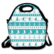 Anchor Sailboat Hear Lunch Bag Adjustable Strap