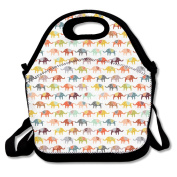 Cartoon Elephant Repeated Lunch Bag Adjustable Strap