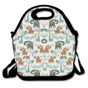 Cartoon Giraffe Elephant Crocodile Lunch Bag Adjustable Strap
