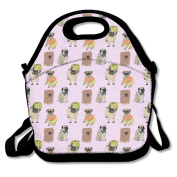 Cartoon Funny Pugs Lunch Bag Adjustable Strap