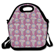 Purple Elephant Lunch Bag Adjustable Strap