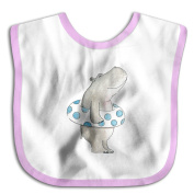 Unisex Baby A Happy Hippo With A Swim Ring Funny Art Soft And Comfortable Cute Bibs