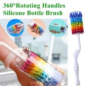 Bottle Brush Cleaner-Baby Milk Bottle Cleaner Soft Silicone Bottle Brusher / 360 degree Rotating Long Handle brush for Washing Beer, Wine, Kombucha, Decanter, Narrow Neck Brewing Bottles