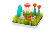 Countertop Drying Grass Rack – Baby Bottle Drying Rack for your Kitchen – Multipurpose and ECO friendly - BPA and Phosphate free. Includes Bonus Baby Spoon and Fork – Alnoor USA