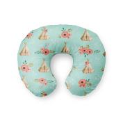 AllTot Nursing Pillow Cover in Mint Teepees