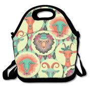 Goat Sheep Tribal Symbol Multifunctional Lunch Tote Bag Carry Box