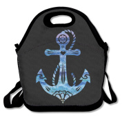 Watercolour Ship Anchor Multifunctional Lunch Tote Bag Carry Box