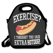 No Exercise Extra Hotdogs Multifunctional Lunch Tote Bag Carry Box