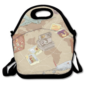Plane Bag Camera World Map Multifunctional Lunch Tote Bag Carry Box