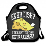No Exercise Extra Cheese Multifunctional Lunch Tote Bag Carry Box