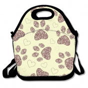 Floral Animal Paw Print Multifunctional Lunch Tote Bag Carry Box