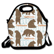 California Brown Bear Multifunctional Lunch Tote Bag Carry Box