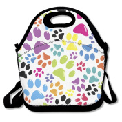 Coloured Paws Pattern Multifunctional Lunch Tote Bag Carry Box