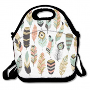 Tribal Feathers Pattern Multifunctional Lunch Tote Bag Carry Box