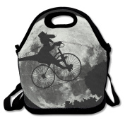 Funny Dinosaur Bicycle Moon Multifunctional Lunch Tote Bag Carry Box