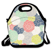 Blossom Roses Print Multi Multifunctional Lunch Tote Bag Carry Box