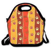 Cats Dogs Paw Stripes Multifunctional Lunch Tote Bag Carry Box
