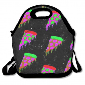 Colourful Trippy Pizza Multifunctional Lunch Tote Bag Carry Box