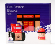 BooKid Durable Wooden Blocks Fire Station Toys for Toddlers 19 Pieces Includes Fireman, Firetruck, and Fire Station Blocks