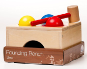 BooKid Durable and Colourful Wooden Pounding Bench Toy for Toddlers - Ball Pounding Toy Includes 3 Wooden Balls, a Toy Hammer, and Toy Bench