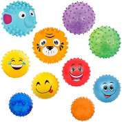 10 Sensory Balls Pack   Fun Balls for Kids and Toddlers   Spiky, Bumpy, Bouncing, Squishy, Emoji, Animal   NOTE