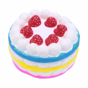 FEESHOW 12cm Jumbo Slow Rising Scented Squishy Strawberry Cake Squeeze Toy Colourful one size