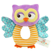 KINGSEVEN Shake It Baby! Activity Baby Rattle,O-Shaped Soft Plush Owl Toy, Handle Toys Educational Toy
