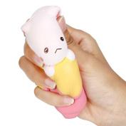 Slow Rising Kids Toy, Hunzed New Jumbo Banana Cat Cake Cream Scented Cake Toy Soft Phone Strap Abreact toy