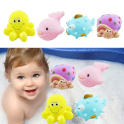 Vibola Bath Toys 4pcs Rubber Animals With Sound Baby Shower Party Favours Toy