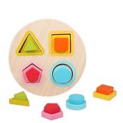 Baby Toys Mini Shape Chopping Blocks Set Colourful Geometry Design Shape Mathematics Wooden Montessori Early Educational Blocks
