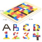 . Kids Educational Montessori Wooden Tetris Game Jigsaw Puzzles Geometric Shape Slide Building Puzzle Children's Day Gift