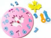 Random Colour 1PCS Baby Kids Foam Educational Toy Clock Number Puzzle Baby Brain Developmental Toy Gift
