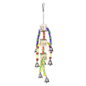 Yunt Parrot Toys Standing Swing Chewing Toys Birds Toy with Bells for pet birds