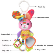 Baby Activity Toy, Seprovider Colourful Rabbit Baby Teether, Kids Hanging Toy for Crib with Teething Ring and Mirror for Self Discovery, Baby Car Toys & Stroller Toys Baby Plush Toy Squeaker