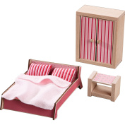 HABA Little Friends Master Bedroom - Dollhouse Furniture for 10cm Bendy Dolls - 3 Piece Set with Bedding