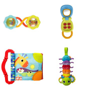 Baby Activity Gift Set for On The GO, Musical Bug, Crinkle Book, Rattle, Flip Phone