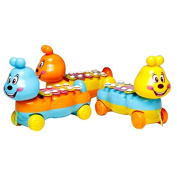 Qiyun Cartoon Caterpillar Hand Knock Xylophone Glockenspiel Baby Kids 5 Scales Musical Toy Drawable Car Musical Instrument