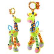 Lanlan Cute Fashion Baby Cartoon Giraffe Plush Dolls Puzzle Cartoon Pulling Bell Hanging Ring Pendant green