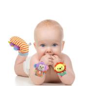 2Pcs Cute Fun Baby Infant Squeaky Plush Elephant Monkey Animal Wrist Bracelet Toy Random Colour