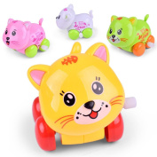 Inverlee Clockwork Funny Toy Cartoon Puppy On The Chain OF Small Car Ciute Cat Toys Clockwork Car Educational Toys