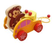 Lovely Wooden Push & Pull Toy Pull-Along Waggon Vehicle Monkey
