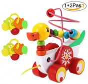 Aimeio Bead Maze of Ducklings--Wooden Educational Toy Pull Along Toy Pull Cart Toy Sturdy String Developmental Toy for Babies Boys & Girls