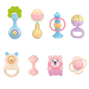 TOYMYTOY Baby Hand Bell Cute Baby Rattle Toys Set Toddler Nursery Hand Bell 8 Pcs
