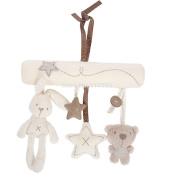 Baby Infant Car/Crib Hanging Soft Plush Rabbit, Bear and Stars Rattles
