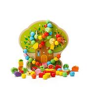 YiGooood Colourful Multifunction Tree Wooden Beads Education Wooden Toys Animal Fruit Beads Montessori Toy