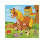 Putars Cute Wooden Horse Jigsaw Toys For Kids Education and Learning Puzzles Toys