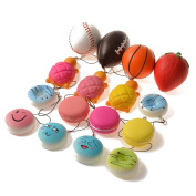 BULLET FACE Squishy Charms Kawaii Soft Squishies Basketball/Football/Tennis Ball/Strawberry/Tortoise/Cake/Bread/Buns Toys Cell Phone Straps Key Chains Stress Relief toy Party Favours