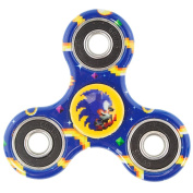 Fidget Spinners - Sonic Pixelated Pose + Game Elements Scattered Dark Blue