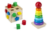Melissa & Doug Shape Sorting Cube with Melissa & Doug Rainbow Stacker Wooden Ring Educational Toy, Classic set for Toddlers …