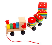 Eyotool Drag Three Digital Small Wooden Train Best Educational Set of Trains with Fun and Colourful and Geometric Figures Stacking Train Pairing Disassembly for Combination Shape